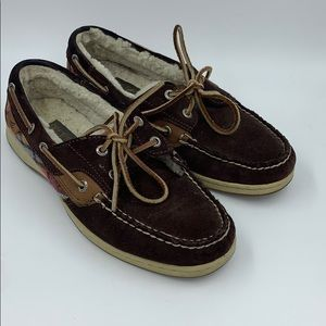 Sperry Top Sider Fur Lined Plaid Boat Shoes